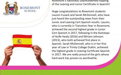 Rosemont students' success in JC & LC Spanish