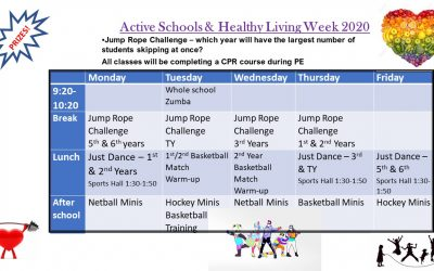 Healthy Living & Active Schools Week – The line up for next week