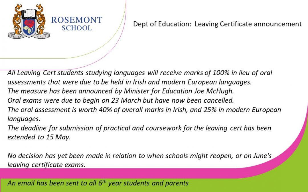 Dept. of Education announcement