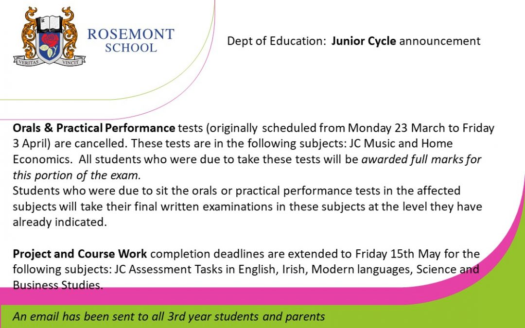 Dept. of Education announcement: Junior Cycle